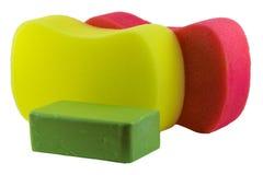 Esponjas y jabón Imagen de archivo libre de regalías