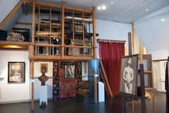 Espoo. Finland. The Akseli Gallen-Kallela Museum interior. ESPOO, FINLAND - JULY 7, 2013: The Akseli Gallen-Kallela Museum. Located near Helsinki. Akseli Gallen royalty free stock photos