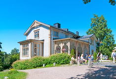 Espoo. Finland. The Akseli Gallen-Kallela Museum. ESPOO, FINLAND - JULY 7, 2013: The Akseli Gallen-Kallela Museum territory. Cafe in a villa, where the artist royalty free stock photos