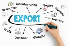 Esportazione, concetto di vendita al dettaglio delle mercanzie del prodotto Grafico con le parole chiavi e le icone su fondo bian immagini stock libere da diritti
