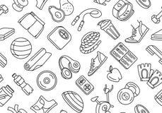 Esporte, aptidão, teste padrão sem emenda de formação funcional do estilo dos ícones da garatuja do fundo ilustração stock