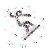 Esporte 3d da competição do slalom do esqui dos povos Fotografia de Stock