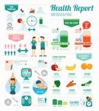 Esporte da saúde de Infographic e de molde do bem-estar projeto Conceito ilustração stock