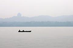 Esporte de barco no lago do xihu Imagens de Stock