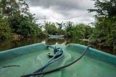 Esporte de barco no rio entre a selva Foto de Stock Royalty Free