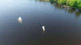 Esporte de barco Pennsauken de enfileiramento NJ do rio do tanoeiro da vista aérea vídeos de arquivo