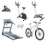 Esporte de Fitnes - os rolos exercitam a bicicleta tr deslizante ilustração stock