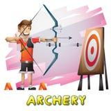 Esporte do tiro ao arco do vetor dos desenhos animados com camadas separadas para o jogo e a animação ilustração do vetor