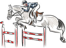 Esporte equestre - cavaleiro no cavalo na mostra de salto Fotos de Stock
