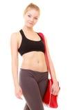 esporte Menina desportiva da aptidão no sportswear com saco do gym imagem de stock