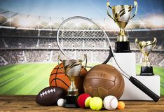 Esporte, muitas bolas e material Imagens de Stock