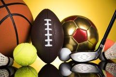 Esporte, muitas bolas e material Fotos de Stock Royalty Free