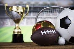Esporte, muitas bolas e material Fotografia de Stock