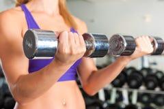 Esporte - a mulher está exercitando com o barbell na ginástica Imagens de Stock Royalty Free