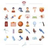 Esporte, realizações, competições e o outro ícone da Web no estilo dos desenhos animados ilustração royalty free