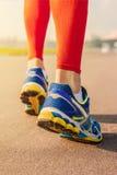 Esporte Running Equipe os pés e as sapatas do corredor na ação na estrada fora no por do sol Fotos de Stock