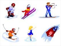 Esportes de inverno dos desenhos animados Fotos de Stock