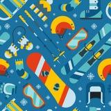 Esportes de inverno e fundo sem emenda do teste padrão da atividade ilustração royalty free