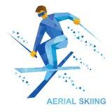 Esportes de inverno: Esqui aéreo Esquiador do estilo livre durante um salto ilustração stock