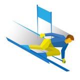 Esportes de inverno - esqui do slalom Esquiador dos desenhos animados que corre para baixo ilustração do vetor