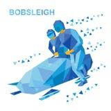 Esportes de inverno - trenó Atletas dos desenhos animados que correm perto do trenó ilustração stock