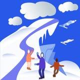 Esportes de inverno, voo do esqui em montanhas nevando ilustração stock