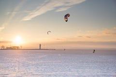 Esportes do por do sol do inverno Fotografia de Stock Royalty Free