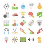 Esportes e ícones coloridos plano dos jogos ilustração stock