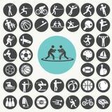Esportes e ícones da aptidão ajustados imagem de stock royalty free