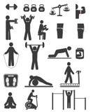 Esportes e ícones da aptidão da cor preta Imagens de Stock Royalty Free