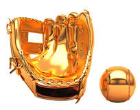 Esportes e lazer: luva de basebol dourada imagem de stock royalty free