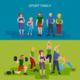 Esportes e povos da aptidão, ilustração saudável do vetor da família ilustração stock