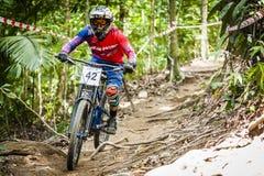 Esportes em declive da bicicleta Foto de Stock Royalty Free