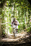Esportes em declive da bicicleta Fotografia de Stock