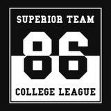 Esportes, gráficos do t-shirt da liga da faculdade Tipografia do esporte do número Cópia, gráfico do t-shirt ilustração stock