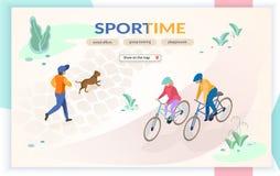 Esportes no molde do página da web do vetor do parque da cidade ilustração royalty free