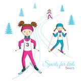 Esportes para crianças skiers Imagens de Stock