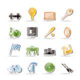 Esportes simples engrenagem e ícones das ferramentas ilustração stock