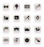 Esportes simples engrenagem e ícones das ferramentas ilustração royalty free