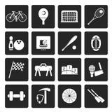 Esportes simples pretos engrenagem e ícones das ferramentas ilustração do vetor