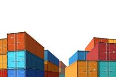 Esporti l'illustrazione isolata massa 3d dei contenitori di carico dell'importazione fotografia stock