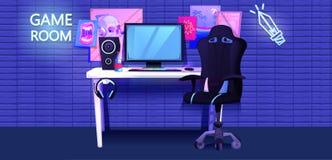 ESports内部横幅 工作场所网络运动员游戏玩家 库存例证