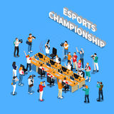 Esports Championship Isometric Composition. With players near computers reporters photographers and cameramen on blue background vector illustration stock illustration