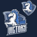 Mascot f mustang horse head esport gaming mascot logo template royalty free illustration