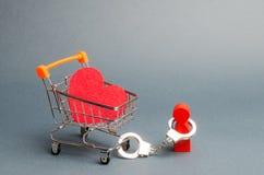 esposan a la persona a un corazón rojo en un carro del supermercado Limitan al hombre en la libertad de acción Dificultades en am imagen de archivo
