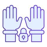 Esposas en icono plano de las manos Iconos azules de la detención en estilo plano de moda Diseño criminal del estilo de la pendie libre illustration
