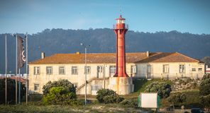 Architectural detail of the Esposende lighthouse near Sao Joao Baptista Fort royalty free stock photography