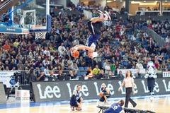 Esposizione acrobatica di pallacanestro Fotografia Stock