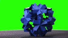 Esposizione appuntita della palla di origami blu stock footage