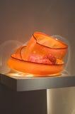 Esposizione arancione delle ciotole di Chihuly fotografia stock libera da diritti